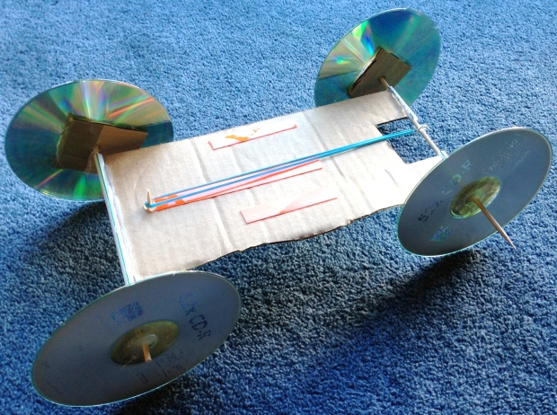 1st rubber band-powered car