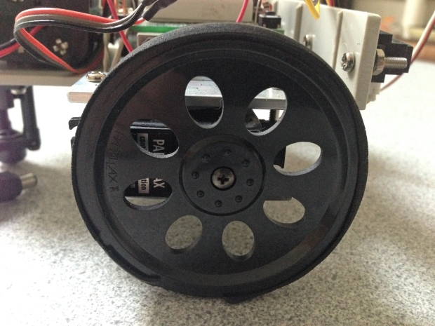 One of the two main wheels